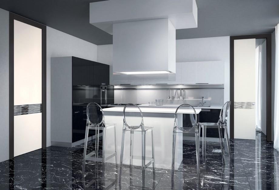 Porte scorrevoli in vetro per interni collezione adela - Porte scorrevoli per cucina ...